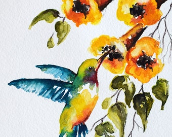ORIGINAL Watercolor Green Blue Hummingbird, Colorful Yellow Watercolor Flowers 6x8 inch