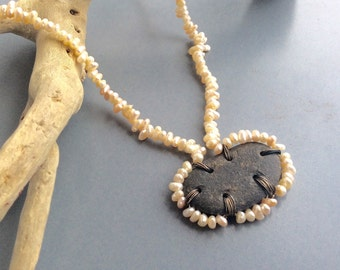 Vintage Seed Pearl and Beach Stone Necklace