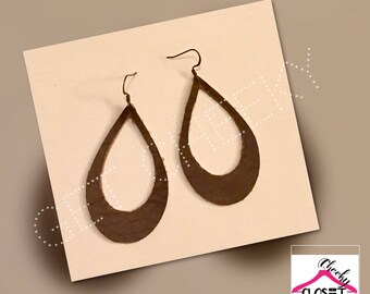 Genuine leather brown hoop earrings