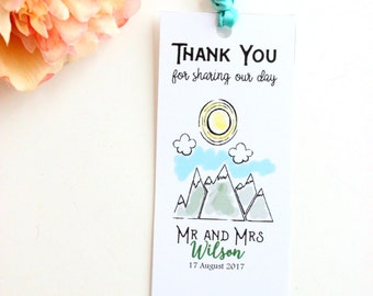 Rustic Wedding favor Bookmark - Mountain Wedding Favor - Personalized - Print your Own - Budget friendly wedding favor