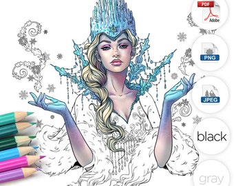 Snow Queen Adult Coloring Page Fantasy Line Art