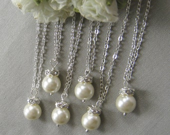 SET of 4  Rhinestone pearl necklace, bridesmaid necklace, bridesmaids necklace custom wedding pearl jewelry white ivory pearl W003