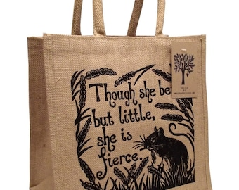 Shakespeare quote jute shopping bag. 'Though she be but little, she is fierce.