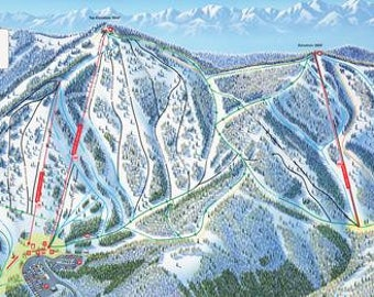 Beaver Mountain Resort Map Canvas Giclee