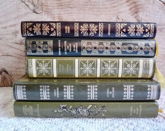 Vintage Book Collection Shades of Khaki, Green and Black with Gold Lettering. Decorative Book Set of 5, 1970s.