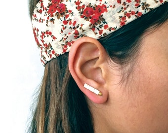 White Studs, White Earrings, White Turquoise Earrings, Turquoise Studs, Bar Earrings, Ear Bar, Bohemian Earrings, Ear Climbers, Ear Sweeps