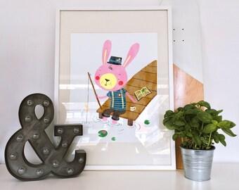 PDF Affiche - Fishing rabbit - print - children print