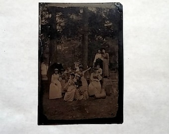 Antique Victorian Tintype, Group of Women on Outing, Ghostly Presence Cemetery?