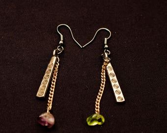 Stone and chain earrings