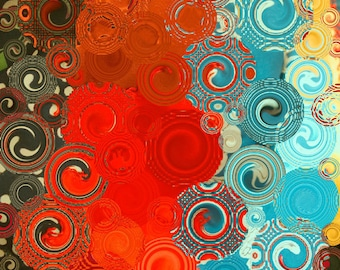 Turquoise and Red Swirls - square abstract art print- home decor - colorful swirls wall decor