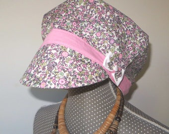newsboy cap girl or women cotton floral style pink liberty