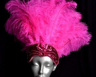 Hot Pink Fuchsia Carnival Feather Headdress