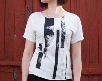 KASKADA Women's Loose Tee, Black&White T-shirt, Original Handprinted Design