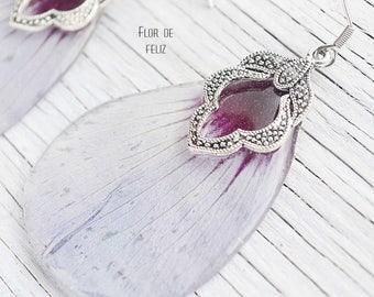 Floral Earrings, Wedding earrings, Resin Earrings, Nature Jewelry, Real hibiscus, Botanical earrings, Eco Gift, Flower Earrings
