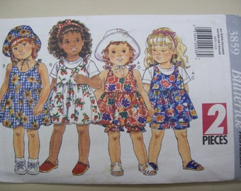 Butterick 3859, Toddlers Jumper, Toddlers Dress, Toddlers Shorts