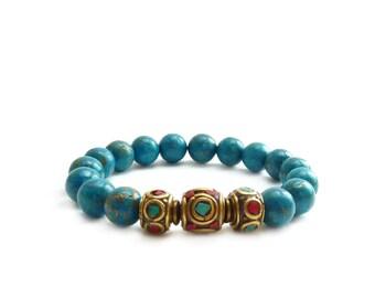 Tibet Beaded Stacking Bracelet - Turquoise & Gold Pyrite Beads - Nepal Coral Turquoise Stones - Elastic Boho Bracelet