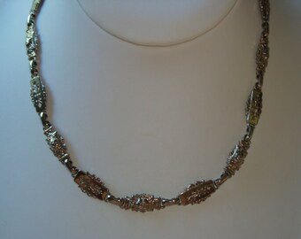 Vintage Silver Tone Ornate Link Necklace / Choker