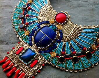 Ascension custom order egyptian scarab collar egyptian turquoise and coral custom order egyptian scarab necklace lapis coral gold aloadofball Choice Image