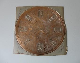 VINTAGE copper ART piece - compass design - greek mythology - greek gods of wind - one of a kind - rare