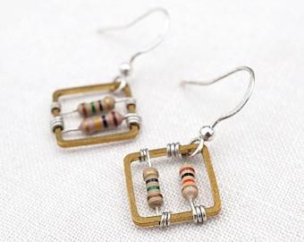 Statement Jewelry Square Geometric Earrings Wearable Tech Computer Earrings Techie Jewelry Petite Beige Resistor Electronic Eco Friendly