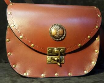 """Tree of life"" leather handbag"