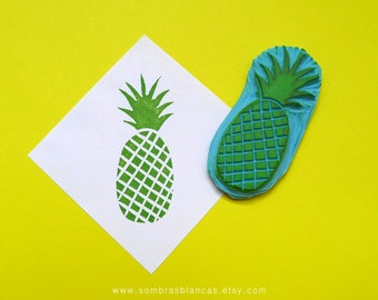 Pineapple Stamp - Hand Carved Rubber Stamp – Scrapbooking Stamp – Card Making – DIY Stationery - Journal Stamp - Printmaking