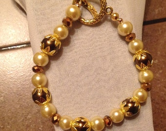 Chocolate & champagne pearl bracelet