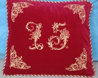 Pillow, Anniversary gifts, Velvet  with embroidered numbers, MADE TO ORDER, custom colors available