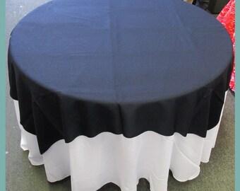 Table Overlay Poly Poplin / Polyester / Gabardine 58 X 58 Inches   Navy  Blue 72