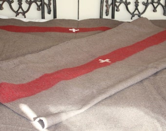 Gift for Him // Swiss Army Blanket  // Wool Beach Blanket // Cabin Blanket