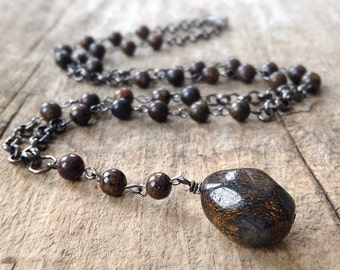 Men's Y Necklace, Bronzite Rosary Necklace, Lariat Necklace, Stone Rosary, Brown Rosary Style Necklace, Brown Necklace, Father's Day