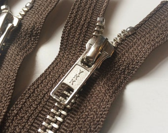 Metal Zippers- YKK Closed Bottom Nickel Teeth Zips- (5) pieces - Chocolate Brown 009- Number 5s- Available in 9,12, and 14 Inches