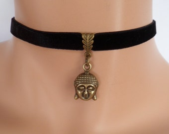 buddha choker, black velvet choker, stretch ribbon