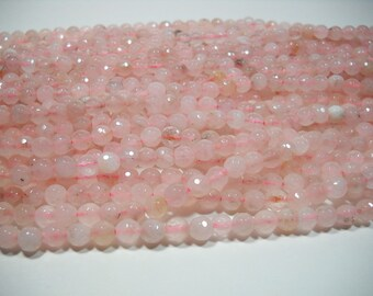 Rose Quartz Faceted Round Ball Beads 6mm