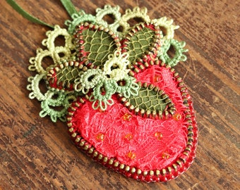 Boho strawberry necklace, Fruit necklace, Tatted lace jewelry, Steampunk pendant, Fruit lovers gift, OOAK, Gift for women, Gift for mom