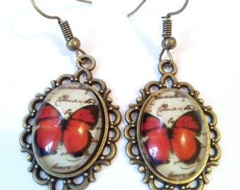 vintage butterfly earrings steampunk