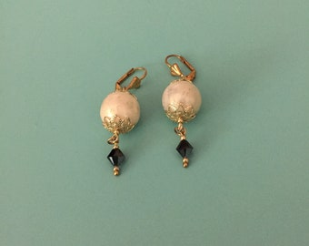 Art Deco Earrings / Gold Earrings / Dangle Earrings / Black Earrings / Crystal Earrings/ Wedding Earrings / Bridesmaid Gift / Pearl Earrings