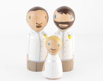 Mr and Mr Cake Topper - Gay Cake Topper - couple with daughter topper, gay topper with child, same sex cake topper - gay wedding cake topper
