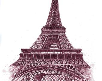 Wine Art: Eiffel Tower - recreation of original
