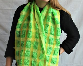 Green and Yellow nuno Felt Scarf
