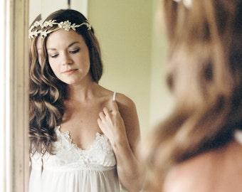 Bridal Headband. Gold & Ivory Beaded Bridal Headpiece. Bridal Hair Vine {Anastasia}