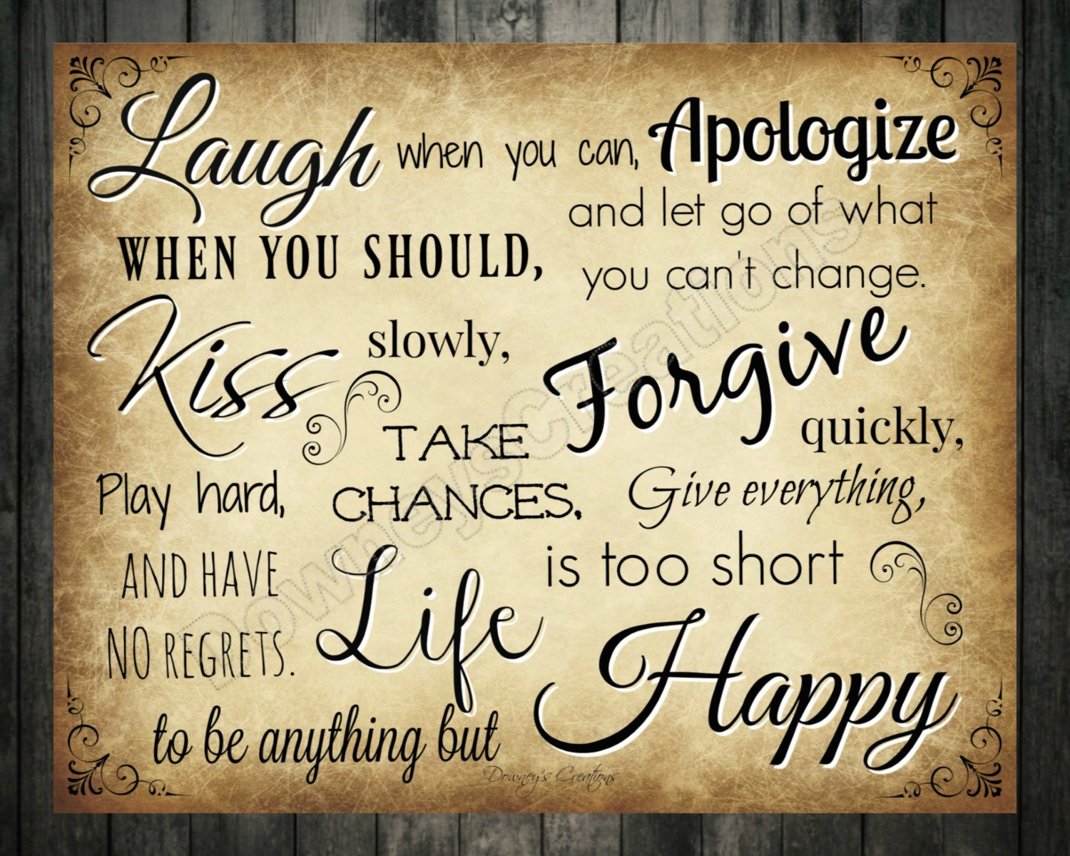 Laugh/Kiss/Life/Happy/Printable/Wall Decor/Table Decor/INSTANT ...