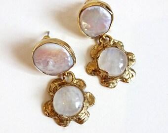 Moonstone and Keshi Pearl Flower Earrings/ One of a Kind Moonstone Flower Earrings with Keshi Pearls/ Moonstone Earrings with Fresh Pearls