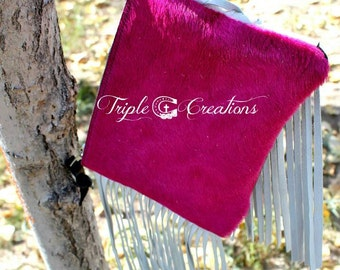 Hot Pink Cowhide Clutch with Fringe