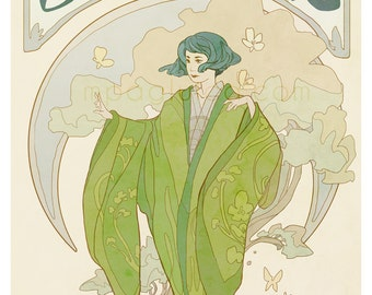 Jasmine - tea lover's poster - art nouveau illustration