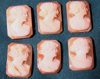 Set of 6 Unset Vintage CARVED SHELL CAMEOS 1930s - 1940