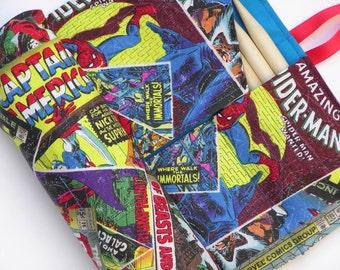 double pointed knitting needle case - knitting needle organizer - dpn needle case - 28 pockets - holds sizes 1 -15 - marvel heroes
