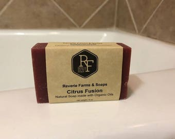 Citrus Fusion Bar Soap - Natural & Made with Organic Oils - Organic Soap - All Natural - Vegan - Cruelty Free - Handcrafted - EcoFriendly