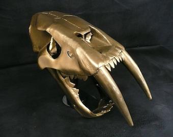 Handmade metal Smilodon / Sabre Tooth Tiger Skull sculpture