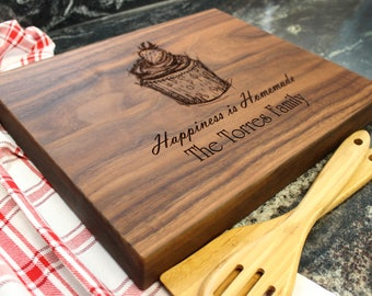 "15x12"" Personalized Chopping Block - Engraved Edge Grain, Custom Butcher Block, Housewarming, Wedding, Engagement, Hostess Gift (03)"